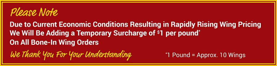 Temporary Wings Surcharge $1